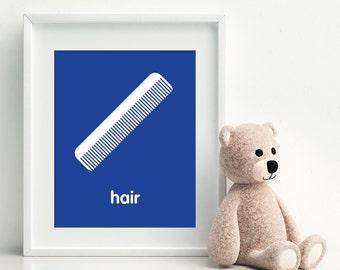 COMB YOUR HAIR Art Print - bathroom art - kids bathroom decor - bathroom rules