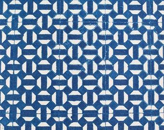 Handmade Cyanotype - Spanish Moroccan  Geometrical Cement Pattern