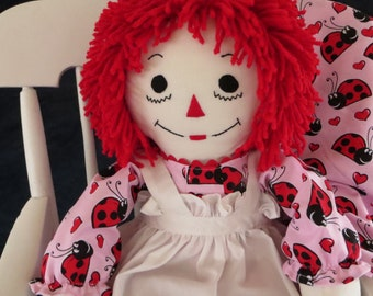 Pink Ladybug Dress on  Raggedy Ann Doll 25 inches tall Handmade in the USA