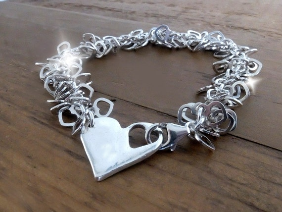 Personalised Bracelet With Heart, Silver Personalised Heart Bracelet, Cascade of Hearts Bracelet, Valentines Gift, Valentines Jewellery