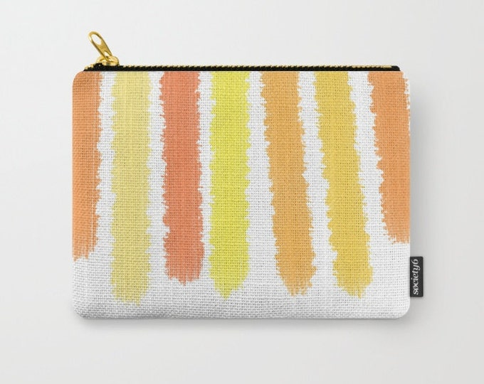 Carry All Pouch - Orange and Yellow Striped - Make-up Bag- Pouch- Toiletry Bag - Change Purse - Organizing Bag - Made to Order