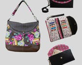 The Hippo Bundle - PDF Sewing Pattern - Instant download, clutch, hobo, shoulderbag, wallet, wristlet