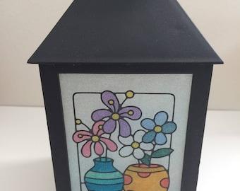 Vases lantern, Night light, Fairy lantern, Centerpiece, Glitter flowers, Silver griffon designs, Home decor,Glass lantern
