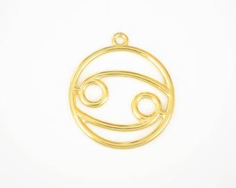 Cancer Charm, Gold Cancer Zodiac Pendant, 34 mm, 2 pieces