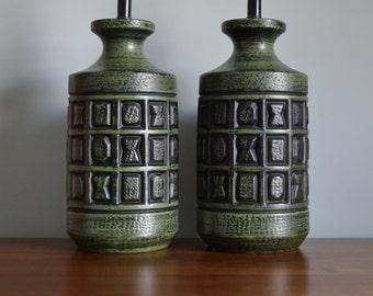 Amazing Large Green Vintage Ceramic Lamp Pair