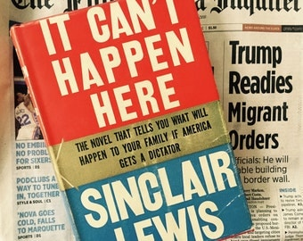 It Can't Happen Here, Sinclair Lewis 1939, Rare Edition, Prediction of Trump, Book Collector,  Liberal Friend Gift, Red White Blue, HTF