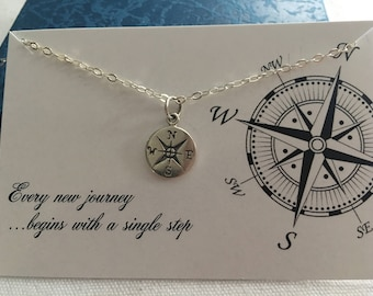 Small Compass Sterling Silver Charm Necklace Nautical Sailor Jewelry birthstone personalized initial tiny disc alphabet charm