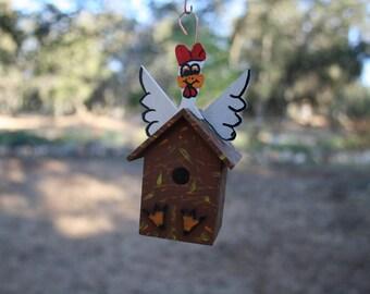 Funky Chicken Hanging Ornament Indoor or Outdoor Min BIrdhouse