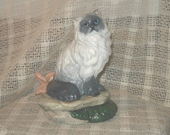 Himalayan Cat Blue Point Figurine Long-Haired Feline Collectible New