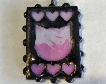 Pink Pussy Pendant / Cat Pendant /  Heart Pendant / Stained Glass with Tin Overlay / Pendant Only No Chain