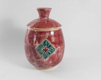 Keepsake urn - small pet urn - burgundy urn - red pottery jar - burial urn - urn for ashes  J76