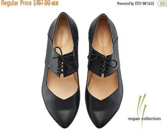 ON SALE Vegan Vicky Black ballerina shoes / handmade vegan flats by Tamar Shalem