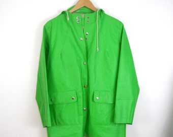 Lime Green PVC Raincoat // Size Medium