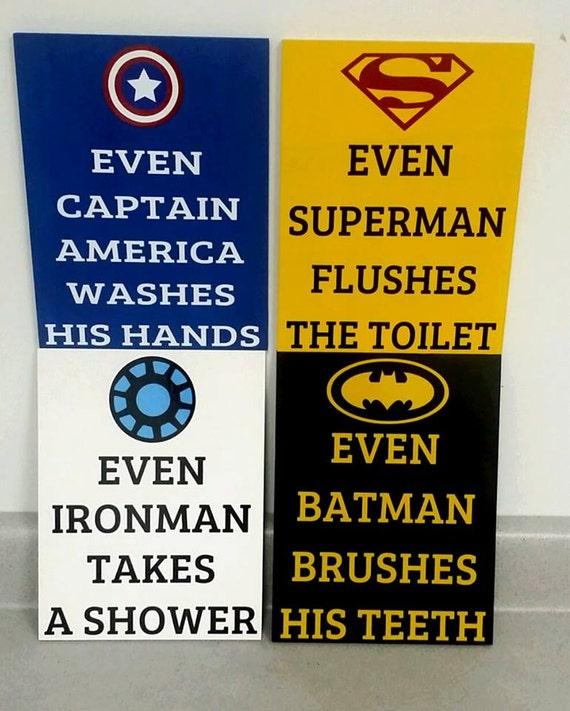 Batman Bathroom Sign: Batman Superhero Bathroom Bathroom Decor Wood Sign Kids