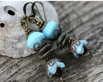 50%off SALE Turquoise Boho Earrings, Blue Flower Earrings, Floral jewelry, Blue Beaded Earrings, Bohemian Flower Earrings, Natural, by MayaH