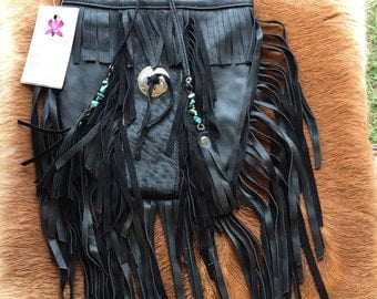 Black leather fur tribe fringe bag  size medium