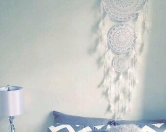 3 tier dreamcatcher - white crochet