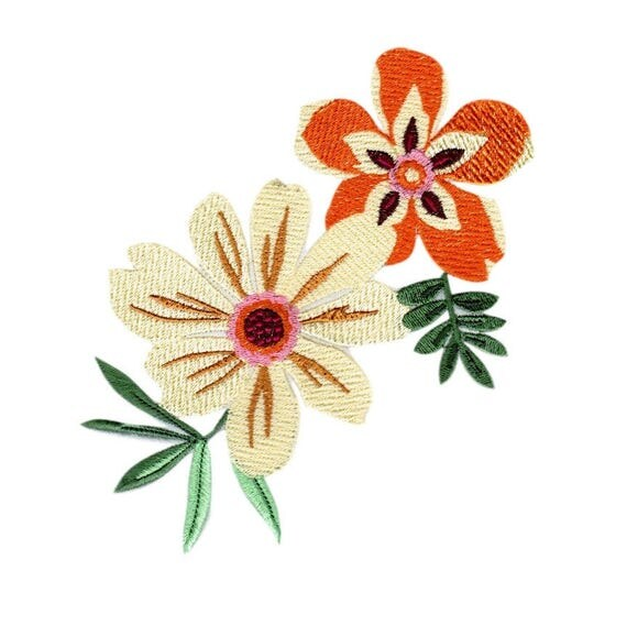 Daisy Flowers Embroidered Applique, Sew On Patch, Glue On Patch, Handmade Embroidered Patch