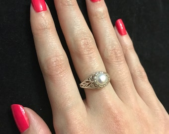 925 Sterling Silver Solitaire Pearl Ring/ Freshwater Pearl Ring