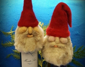 Gnome Puppet, Gnome Wine Topper, Felted Puppet, Needle Felted