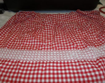Vintage Apron, Red and White Gingham with Embroidered Skirt, S217