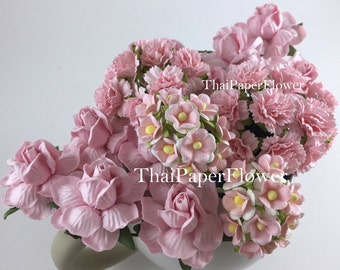 50 Soft Pink 3 Flower Styles- Roses/Carnation /Mini Paper Flowers Scrapbook Craft Wedding Supply 2-ZM3