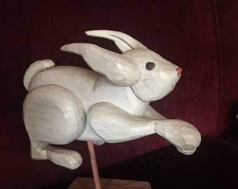 Shabby Chic Cottage Easter Handmade Wood Bunny Rabbit Figurine