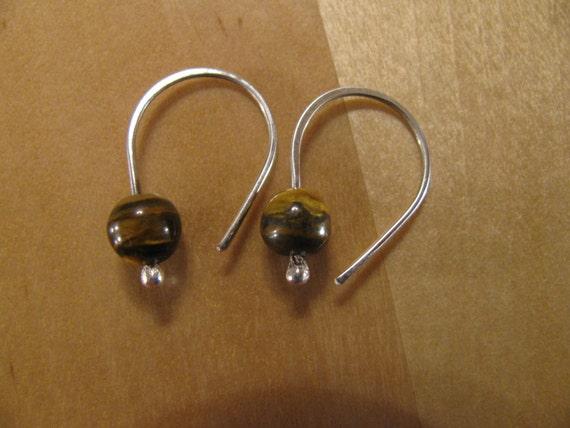 Tiger's Eye and  Sterling Silver Earrings- Dangle Earrings-Drop EarringsHandmade/Hand Forged-ToniRaeCreations