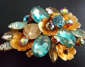 Gold and Blue Rhinestone JULIANA Brooch, Floral, Various Cuts, Vintage