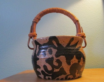 Vintage, Signed, Studio Pottery, Cat, Basket
