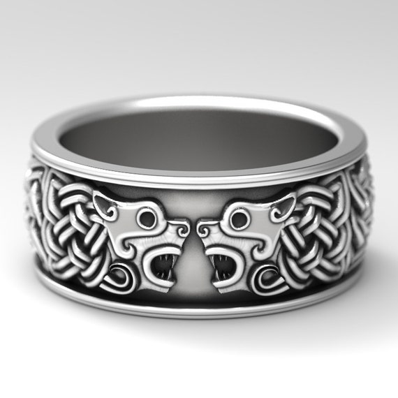 Celtic Hound Ring, Celtic Dog Wedding Band, Hound Jewelry, Made Sterling Silver, Celtic Wolf Wedding Ring, 1102