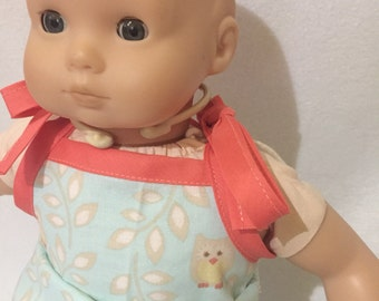 """Bitty Baby Clothes - Outfit for Dolls - Doll Clothes - Doll Overalls - Owls - 15"""" Doll Clothes"""