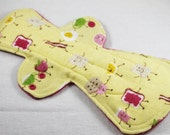 """Reusable Cloth Pad - 13"""" (33cm) Overnight/Postpartum with Single Flare - Dancing Breakfast Flannel"""