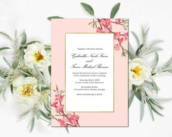 Cherry Tree Blossoms Wedding Invitation Suite; Invitation, Reply, Leaves, Garden, Floral, Vintage