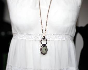 Bohemian necklace, Prehnite necklace, Amethyst, gemstone jewelry, natural jewelry, raw necklace, copper, electroformed jewelry, MARIAELA