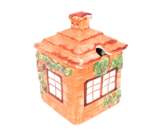 Vintage Cottage Ware Honey Jar, Honey Pot, House Honey Pot, Preserve Pot, Jam Pot, Breakfast Pot, Ceramic Honey Pot, Made In England