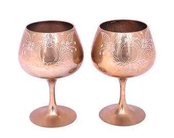 pair of silver plated wine goblets silver brandy glass engraved wine glass metal