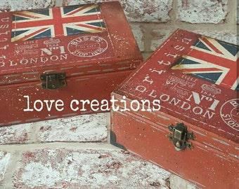 5 o'clock Tea Time Box, wooden tea caddy, vintage London design kitchen decor,storage,compartments trinket box.British, English,union jack