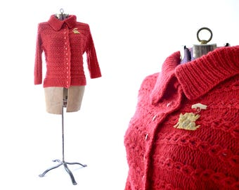 Red Cardigan, 1950s Sweater, 50s Sweater, Red Sweater, Womens Sweater, Vintage Sweater, 1950s Clothing, 50s Clothing, Large Red Sweater