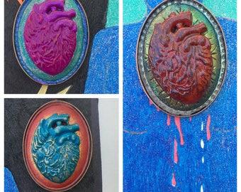 Anatomically Correct Heart Cameo Pendant