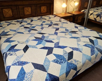 Blue and white patchwork quilt, queen bed custom made to order