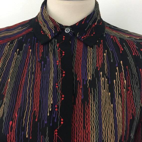 Vintage blouse 1980s jazzy print shirt sheer UK 12 Mom style glam 80s black geometric avant garde embroidered