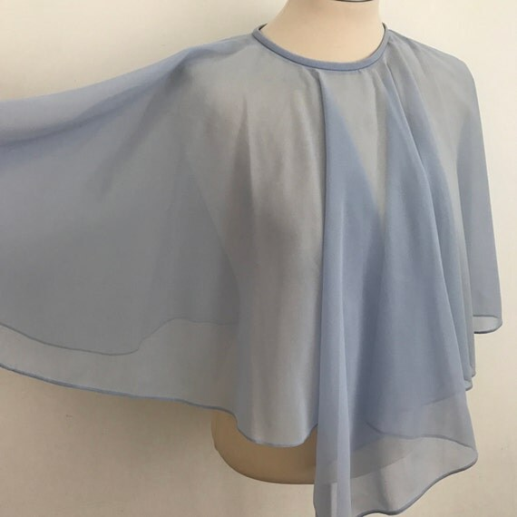 Vintage sheer cape sky blue chiffon poncho capelet butterfly top 70s blouse Avant garde disco 1970s crepe sheer