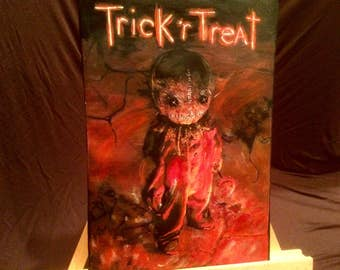 """TRICK R TREAT Hand Painted Acrylic Paint on Stretched Canvas 12"""" x 16"""""""