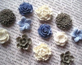 Pretty Magnets, 12 pc Flower Magnets, Light Blue, Gray and White, Locker Magnets, Housewarming Gifts, Hostess Gifts, Wedding Favors