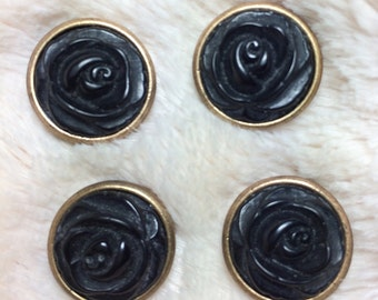 Whitby Jet Carved Floral Beads, Victorian beads, brass and jet beads, carved jet beads, mourning beads buttons