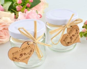 50 x 110ml Round Wedding Favour Jar with Wooden Gift Tag & Raffia Tie