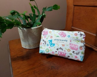Small sized fully lined Makeup or Cosmetic Bag 100% cotton - Elephant print