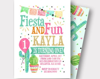 Fiesta Birthday Invitation | Spanish Birthday Invitation | Taco Birthday Invitation | Fiesta and Fun | First Birthday | Cactus Invitation