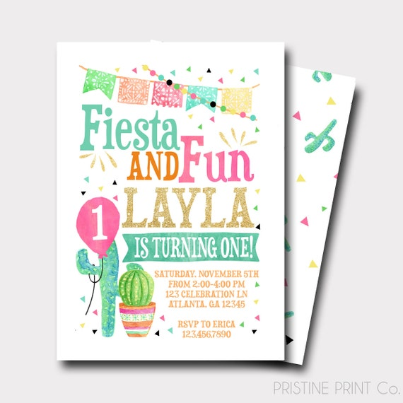Fiesta Birthday Invitation Spanish Birthday By PristinePrintCo